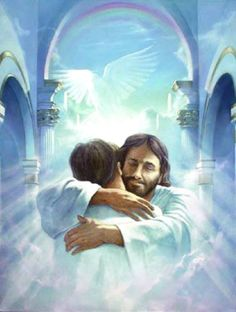 """Have you ever had a """"Jesus hug"""", Do you know what one feels like? If you've never had a """"Jesus hug"""", I pray one day you might. A """"Jesus hug"""" is different, As far as hugging goes; It's a little taste of Heaven, Here on earth below. Jesus Loves, Braut Christi, Akiane Kramarik Paintings, Images Bible, Image Jesus, Jesus Christus, A Course In Miracles, Jesus Pictures, Jesus Pics"""