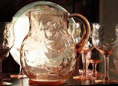Pink depression glass love.