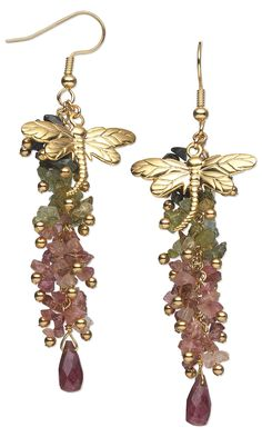 Jewelry Design - Earrings with Multicolored Tourmaline Gemstone Beads and Gold-Plated Brass Dragonfly Charms - Fire Mountain Gems and Beads