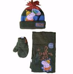 be9a9bc1ca8 Boys Baby Peppa Pig George 3 piece set Hat Scarf Mittens age 1-3 winter