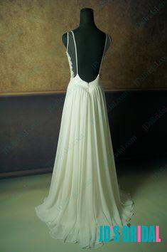 JD012 Sexy backless flowy chiffon boho beach wedding dresses