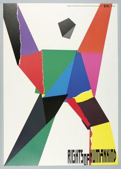 At upper right: Images Internationales pour les Droits de l'Homme et du Citoyen ARTIS 89. Abstract human figure in assorted bold colors…