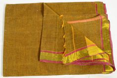 Vintage Indian Textile Striped Brown Fabric Crafting by EtKrafts