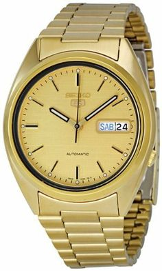 Seiko Men's SNXL72 Seiko 5 Automatic Gold-Tone Stainless-Steel Bracelet Watch Seiko. $84.34. Automatic. 3-hands. 3-fold clasp; stainless steel case and band. Day/date. Water-resistant to 30 M (99 feet)