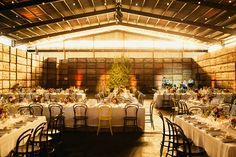 indoor receptions - photo by Love Katie and Sarah http://ruffledblog.com/fruit-packing-shed-wedding