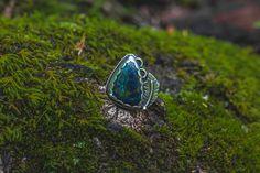 Azurite Malachite Feather Ring