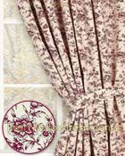 Alyssa's Garden Curtain Panels are a classic toile soft pink pattern 100% cotton and fully lined: kitchen, living room or romantic bedroom window treatments