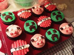 Minecraft Cupcakes- I have never played minecraft, but my nephew loves it!  I made these cupcakes for his birthday party.  Chocolate cupcakes decorated with buttercream icing and characters from the game