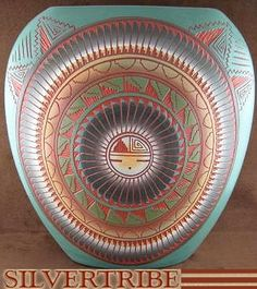 Native American Pottery - Hand Crafted Sun Pot by Navajo Artist V. King KS53531