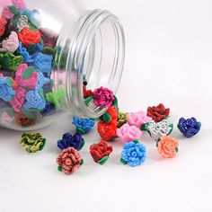 Polymer Clay Rose Flower Beads 13mm Loose Beads