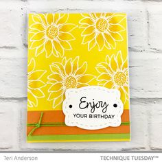 Layered Flower Birthday Label Yellow Handmade Card: Technique Tuesday