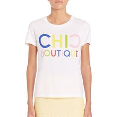 Boutique Moschino Chic Boutique Graphic Tee (220 AUD) ❤ liked on Polyvore featuring tops, t-shirts, apparel & accessories, white t shirt, scoop neck tee, white tee, cotton pullovers and white cotton t shirts