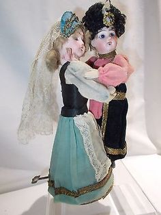 Antique German / French ~ Couple of Waltzing Dancing Dolls ~ Mechanical Key Wind