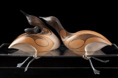 Red-Throated Loons by Rex Homan, carved in matai wood, NZ.