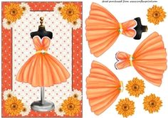 Orange Floral Cocktail Dress Card Front