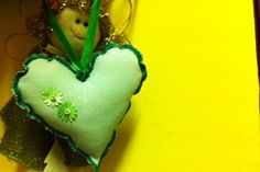 green stripped textile heart