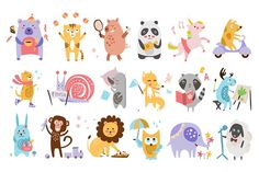 Colourful Childish Animals Vector by TopVectors on @creativemarket