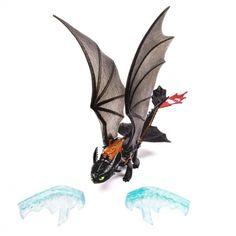 Jak vycvičit draka - Drak Bezzubka, mocný drak. Hlavní dračí hrdina z animovaného filmu Jak vycvičit draka. Bezzubka se právě vyprostil ze sevření ledovce. Figurce můžete na křídla umístit maketu zmrzlého ledu a když Bezzubka začne mávat křídly, tak ho umí jednoduše z křídel odstranit.