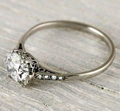 nice 1 Carat Cushion Cut Vintage Engagement Ring | New York Vintage  Antique Estate J...