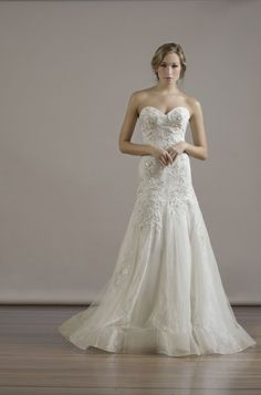 """Liancarlo Style 6814 Italian """"Bouquet"""" embroidery on Chantilly strapless trumpet gown with lace & tulle skirt panels in ivory/platinum"""