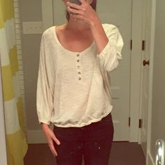 Marc by Marc Jacobs dolman sleeve shirt Dolman sleeve, oatmeal shirt with five tortoise shell buttons.  Oversized fit, sits right at waist.  Very comfortable, super cute on!  Worn once.      EUC    Marc by Marc Jacobs Tops