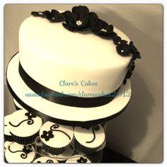 black and white cupcake tower - by ClaresCakesleicester @ CakesDecor.com - cake decorating website
