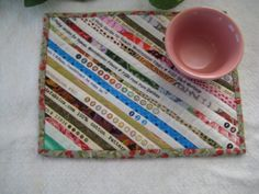 Quilted Mug Rug Snack Mat Coaster Placemat 34 by PeppersPorch