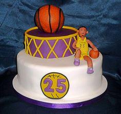 LA Lakers basketball birthday cake by Eva Rose Cakes