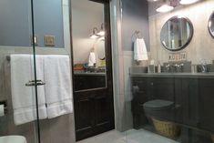 Bathroom door with built in mirror