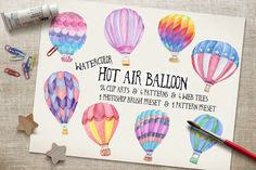 Watercolor Hot Air Balloon Cliparts by JSquarePresents on Creative Market
