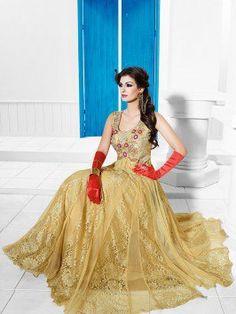 Cream Net Wedding Gown With Santone Inner (Free Size)