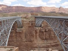 Navajo Bridges over Colorado River, Arizona. The wider modern Navajo Bridge on the right replaced the historic Navajo Bridge for driving safety. Navajo, Marble Canyon, Love Bridge, Glen Canyon, Us Road Trip, Colorado River, Canyon Colorado, Park Service, Road Trippin