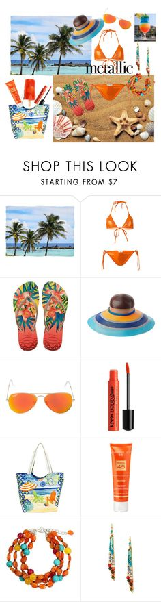 Orange Bikini by siriusfunbysheila1954 on Polyvore featuring Faith Connexion, Havaianas, Sun N' Sand, NOVICA, NAKAMOL, Missoni Mare, Ray-Ban, NYX and Hampton Sun