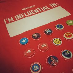 Klout tshirt with pins! #SXSW #KXKW