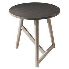 Scandi Round Side Table Grey ($125) ❤ liked on Polyvore featuring home, furniture, tables, accent tables, gray table, gray end table, circular end table, concrete table and grey side table