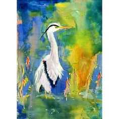 Betsy Drake D&B's Blue Heron Outdoor Wall Hanging 24x30