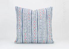 "Hmong Indigo Pillow - Batik Throw Pillow Cover / Cushion Cover : 18x18"" Hill Tribe Pillow, Blue White, Hmong Embroidery, Dress Straps Stripe"
