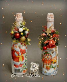 Gallery.ru / Фото #117 - НоВоГоДнЕе - EVGESHKA01 Wine Bottle Candles, Wine Bottle Art, Lighted Wine Bottles, Wine Bottle Crafts, Jar Crafts, Vintage Christmas Crafts, Christmas Craft Fair, Handmade Christmas Decorations, Vintage Crafts