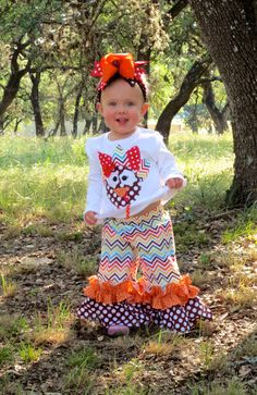 Wild Turkey Outfit...Double Ruffle Pants and Appliqued Turkey, Size 0-3m to 8yrs by ThreeWildGirls on Etsy