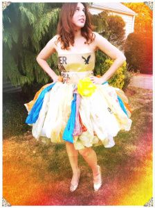 Like the idea of the ruffled skirt - could try and create the effect with plastic bags?
