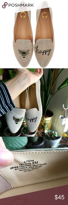 C. Wonder Bee Happy embroidered suede loafers Size 9M suede cream colored loafers with a honey bee embroidered. Never worn brand new. Still being sold on QVC for $59.95. Shoes Flats & Loafers
