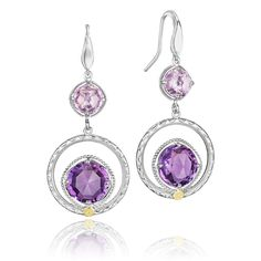 Amethyst and Rose Amethyst stones are cradled by .925 silver blooms and delicately detailed with intricate milgrain designs, for a timeless look.