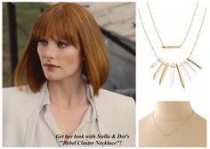 """Get Bryce Dallas Howard's """"Jurassic World"""" delicate necklace (not the exact piece) look with Stella & Dot's Rebel Cluster necklace - a 3-in-1 style for $79!"""