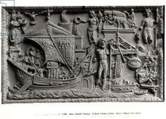 Arrival of a ship in Trajan's Port, Ostia, c.200 AD (stone) (b/w photo), Roman, (3rd century AD) / Museo Torlonia, Rome, Italy / Alinari / The Bridgeman Art Library