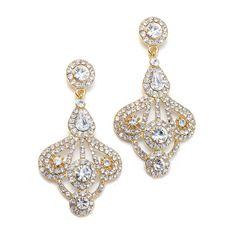 Mariell Gold Art Deco Gatsby Style Wedding Earrings