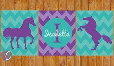 Chevron Horse Wall Art Decor Personalized Name Western Horse Purple Lavender Teal Turquoise DIY Printable 8x10 Digital JPG Files (135)