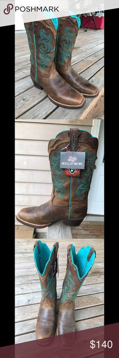 Justin Women's Western Boots Justin Ladies Silver Collection Chocolate Buffalo with Turquoise Stitching. New WITH TAGS. Never worn out of the house, and not broken in. Justin Boots Shoes Heeled Boots
