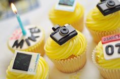 Camera themed cupcakes for a photography lover... say cheese!