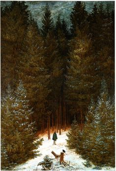 The Chasseur in the Forest, 1814 ‍ Caspar David Friedrich Sep 1774 – 7 May was a German Romantic landscape painter. Caspar David Friedrich Paintings, Casper David, Art Reproductions, Les Oeuvres, Art History, Oil On Canvas, Large Canvas, Cool Art, Dark Art