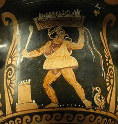 Actor of a phlyax play holding a basket. Side A of a bell-shaped crater, ca. 360 BCE–350 BCE, (Apulian) found in Paestum.